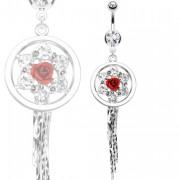 Piercing nombril fleur cerclée avec rose au centre