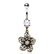 Piercing nombril fleur cuivrée style antique pavée de pierres