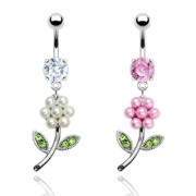 Piercing nombril fleur de perles et pierres