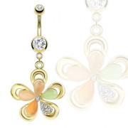 Piercing nombril fleur dorée avec pierres oeil de chat