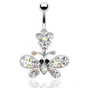 Piercing nombril fleur et pendentif papillon