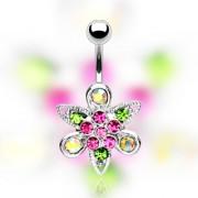 Piercing nombril fleur fantaisie