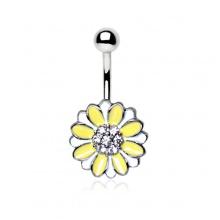 Piercing nombril fleur fantaisie jaune et blanche à strass