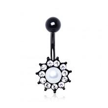 Piercing nombril fleur noire à strass clairs et perle