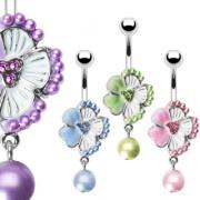 Piercing nombril fleur perlée