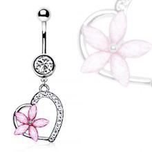 Piercing nombril fleur rose sur coeur pavé de strass