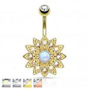 Piercing nombril fleur royale à 12 pétales avec Opale et cristaux