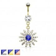 Piercing nombril fleur royale avec centre bleu et strasses clairs