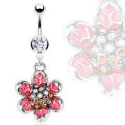 Piercing nombril fleur scintillante émaillée rose