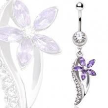Piercing nombril fleur violette à feuille claire