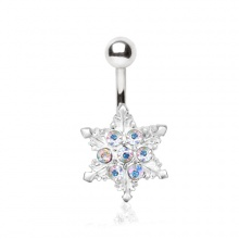 Piercing nombril flocon de neige à strass aurore boréale