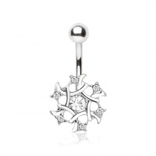 Piercing nombril flocon de neige à strass clairs