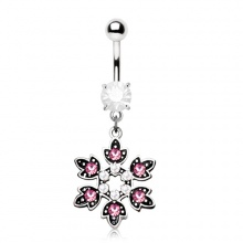 Piercing nombril flocon de neige vintage avec strass