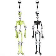 Piercing nombril fluo corps squelette