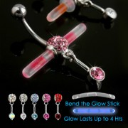Piercing nombril Glowstick pavé de pierres