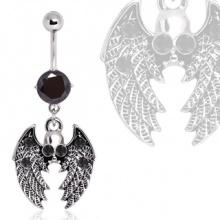 Piercing nombril gothique à pendentif crane ailé