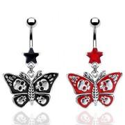 Piercing nombril papillon gothique avec cranes