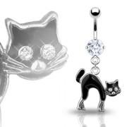 Piercing nombril gothique chat noir