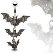 Piercing nombril gothique chauves-souris vampire