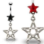 Piercing nombril gothique étoile et pentagramme