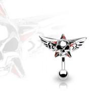Piercing nombril inversé tête de mort et étoile avec ailes
