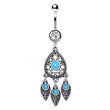 Piercing nombril à goutte décorée et plumes avec turquoises