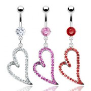 Piercing nombril grand coeur serti