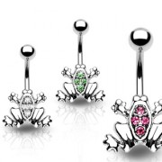 Piercing nombril grenouille serti de 4 pierres