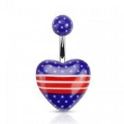 Piercing nombril gros coeur aux couleurs des USA