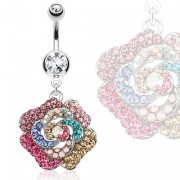 Piercing nombril grosse fleur multicolore