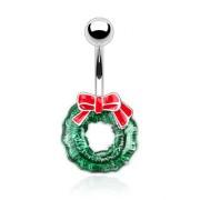 Piercing nombril guirlande de Noel verte avec noeud rouge