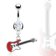 Piercing nombril guitare rock rouge et blanche