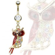 Piercing nombril hibou royal pavé de pierres