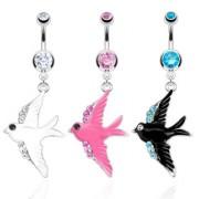 Piercing nombril hirondelle à ailes pavées de pierres
