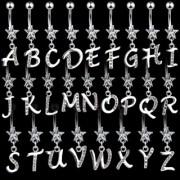 Piercing nombril lettre alphabet à pierres claires avec étoile