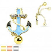 Piercing nombril invers� � ancre marine avec strass