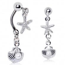 Piercing nombril inversé à étoile de mer et coquillage à perle