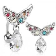 Piercing nombril inversé à ailes pavées multicolores et pierre suspendue