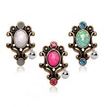 Piercing nombril inversé cadre style antique avec Opale