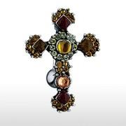 Piercing nombril inversé croix chrétienne pavée de pierres