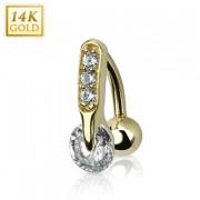 Piercing nombril inversé en or 14 carats avec zirconium enclavé