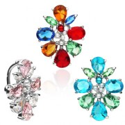 Piercing nombril inversé fleur abstraite multicolore perlée