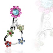 Piercing nombril inversé fleurs et coeur