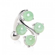 Piercing nombril inversé style vigne à perles de jade