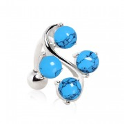 Piercing nombril inversé style vigne à perles de turquoise