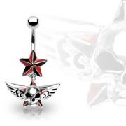 Piercing nombril étoile avec tête de mort ailée