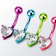 Piercing nombril ionisé néon titanium avec coeur