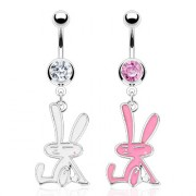 Piercing nombril lapin assis