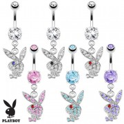 Piercing nombril lapin Playboy à strass bicolores