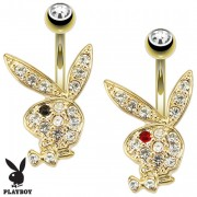 Piercing nombril lapin Playboy plaqué or multi-strass